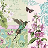 Paperproducts Design 1331183 20-Pack Paper Luncheon Napkin, 6.5 by 6.5-Inch, Belle Colibri Bird and Flower
