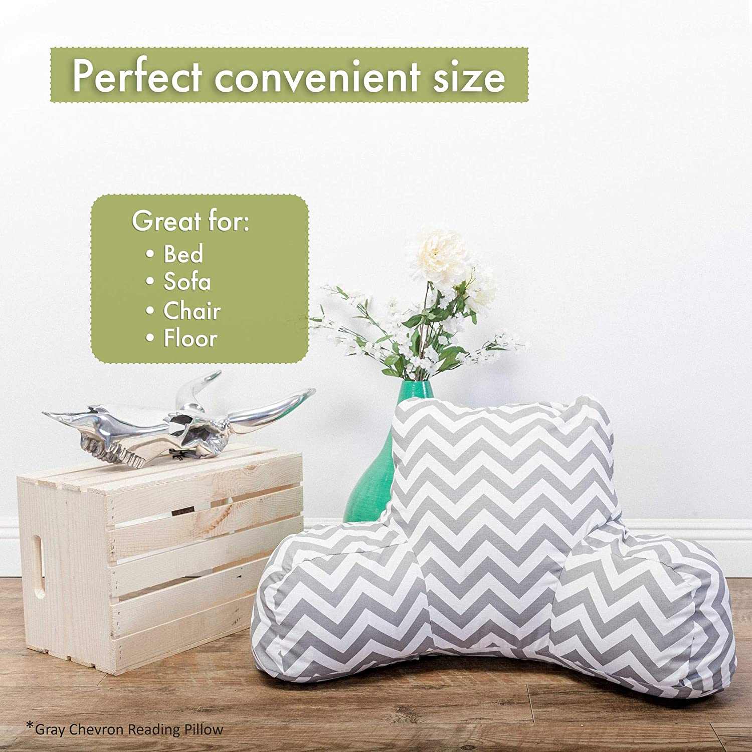 Sage Majestic Home Goods Vertical Stripe Reading Pillow