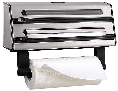 Emsa Contura Portarollos de cocina triple, corta papel de alumino, envoltura de plástico, papel de sandwich, corte en dos dimensiones, fácil de ...