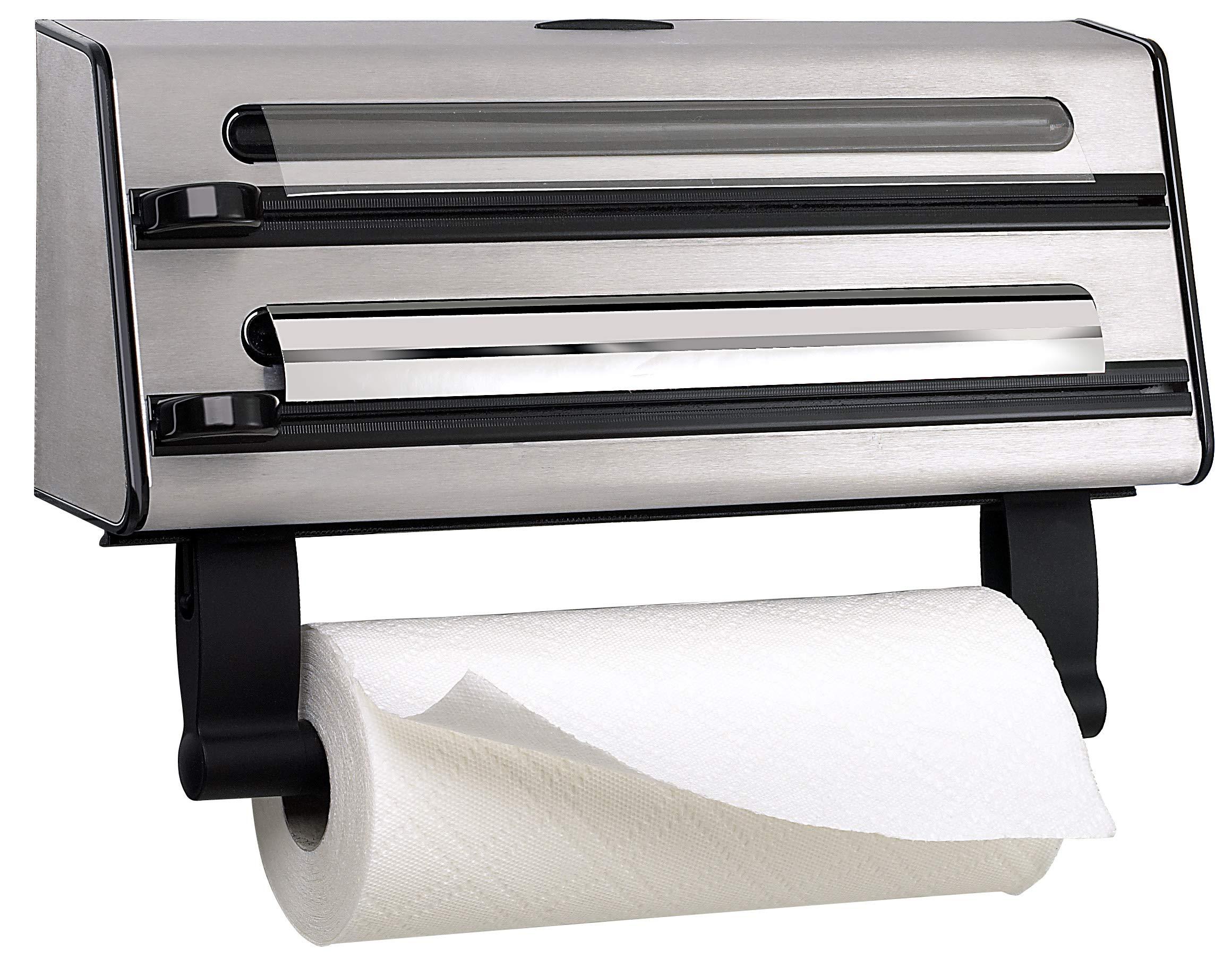 Emsa Triple Roll Dispenser''Contura'' of Stainless Steel, Silver/Black