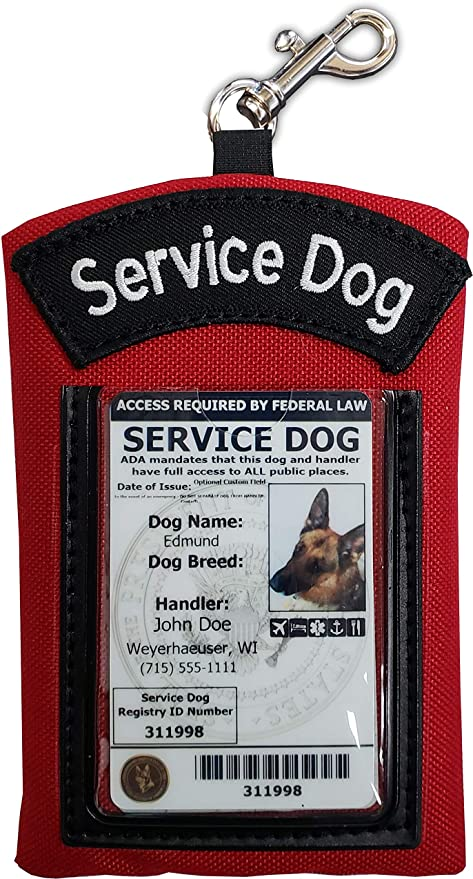 Activedogs Clip-On Service Dog ID Identification Carrier & Zippered Pouch - Carry Many Small Items & Easily Display Your Dogs Identification
