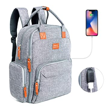 6879d0b30a34 Diaper Bag Backpack, MIBOTE Multi-Function Travel Back Pack Large Organizer  Maternity Baby Nappy...