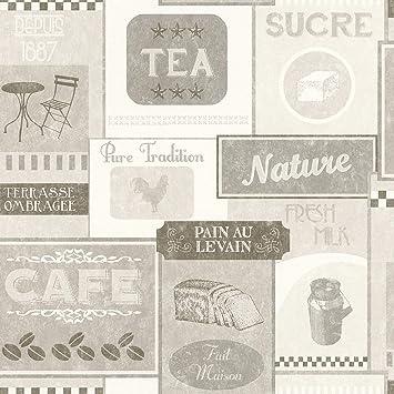 Vliestapete Rasch Deco Relief Vintage Bistro Kuche Cremegrau
