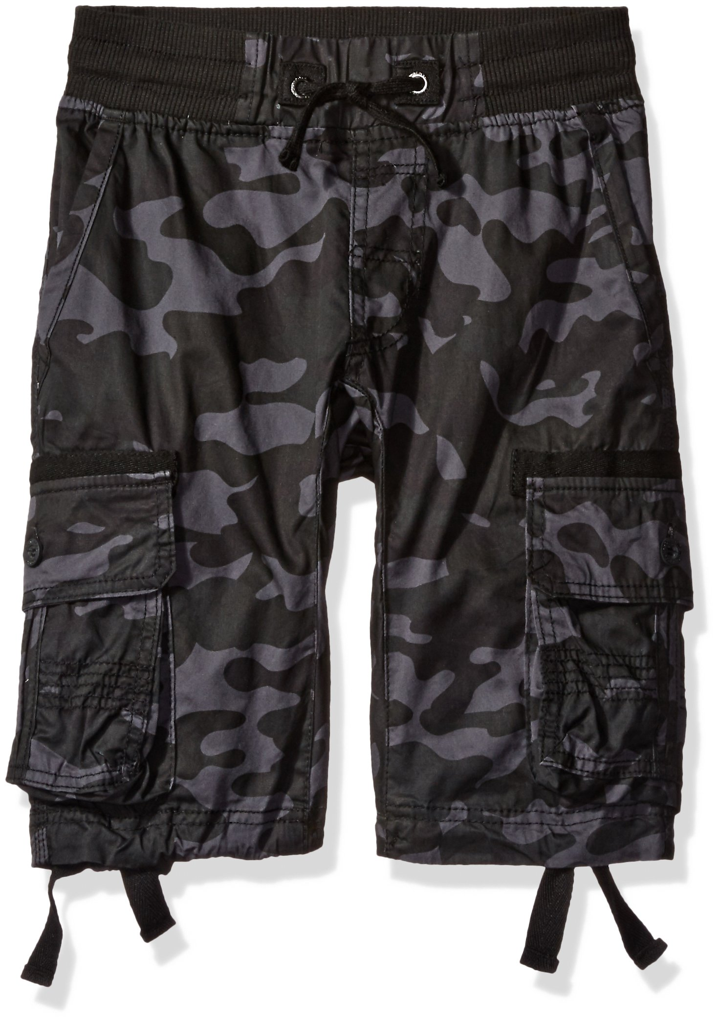 Southpole Big Boys' Fine Twill All Over Camo Jogger Shorts with Cargo Pockets, Grey/Black, X-Large