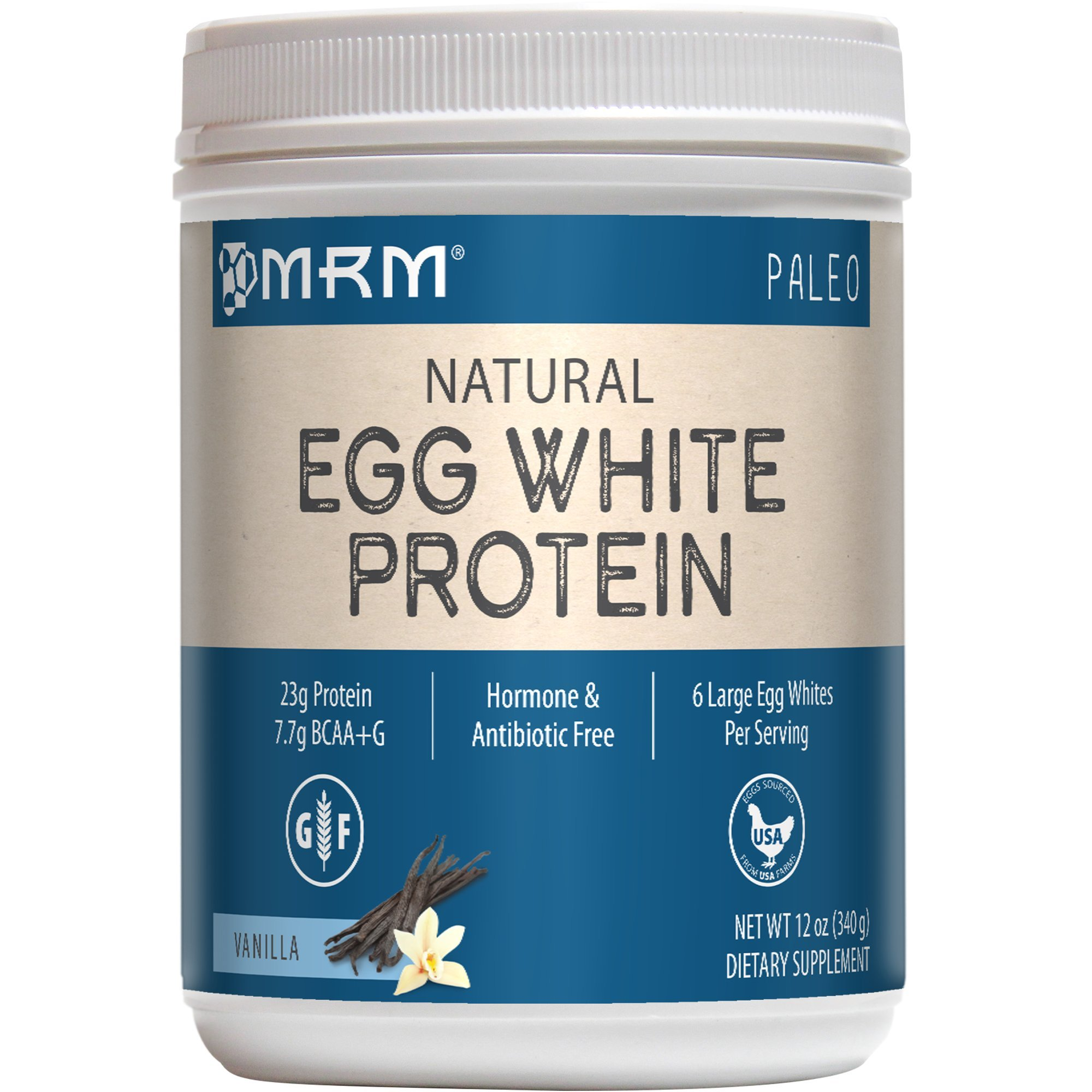 MRM - Egg White Protein, Dairy-Free Protein Powder with Essential Amino Acids Dietary Supplement, Lean Muscle Strength & Recovery, No Fats or Carbs (Rich Vanilla, 12 Ounces)