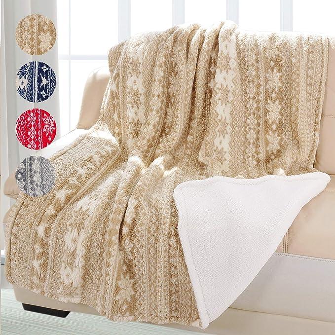 Cataluña Navidad Manta de Forro Polar, Manta de Lana de Cordero Fluffy de Pana de Shu, Reversible Suave y cálida Manta para Cama sofá, 155 cm x 127 cm ...
