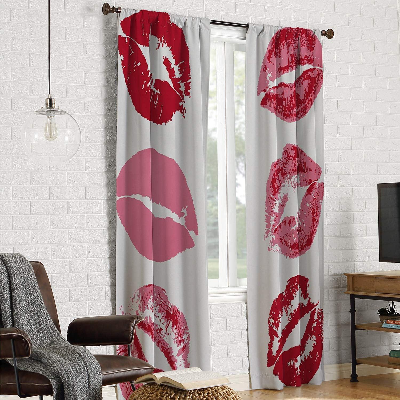Mozenou Cortinas para Puerta corredera con diseño de Besos de Labios Rojos y Marcas de Beso para Mujer, con gráficos Femeninos, para el día de San Valentín, Color Blanco vermellón de 84