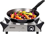Duronic Hot Plate HP1SS | For Table-Top Cooking | 1500W | Stainless-Steel Electric Single Hob with Handles | 1 Cast Iron Portable Hob Ring | For Warming, Cooking, Boiling, Frying, Simmering