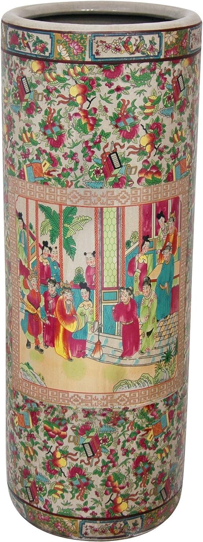 "Oriental Furniture 24"" Rose Medallion Porcelain Umbrella Stand"