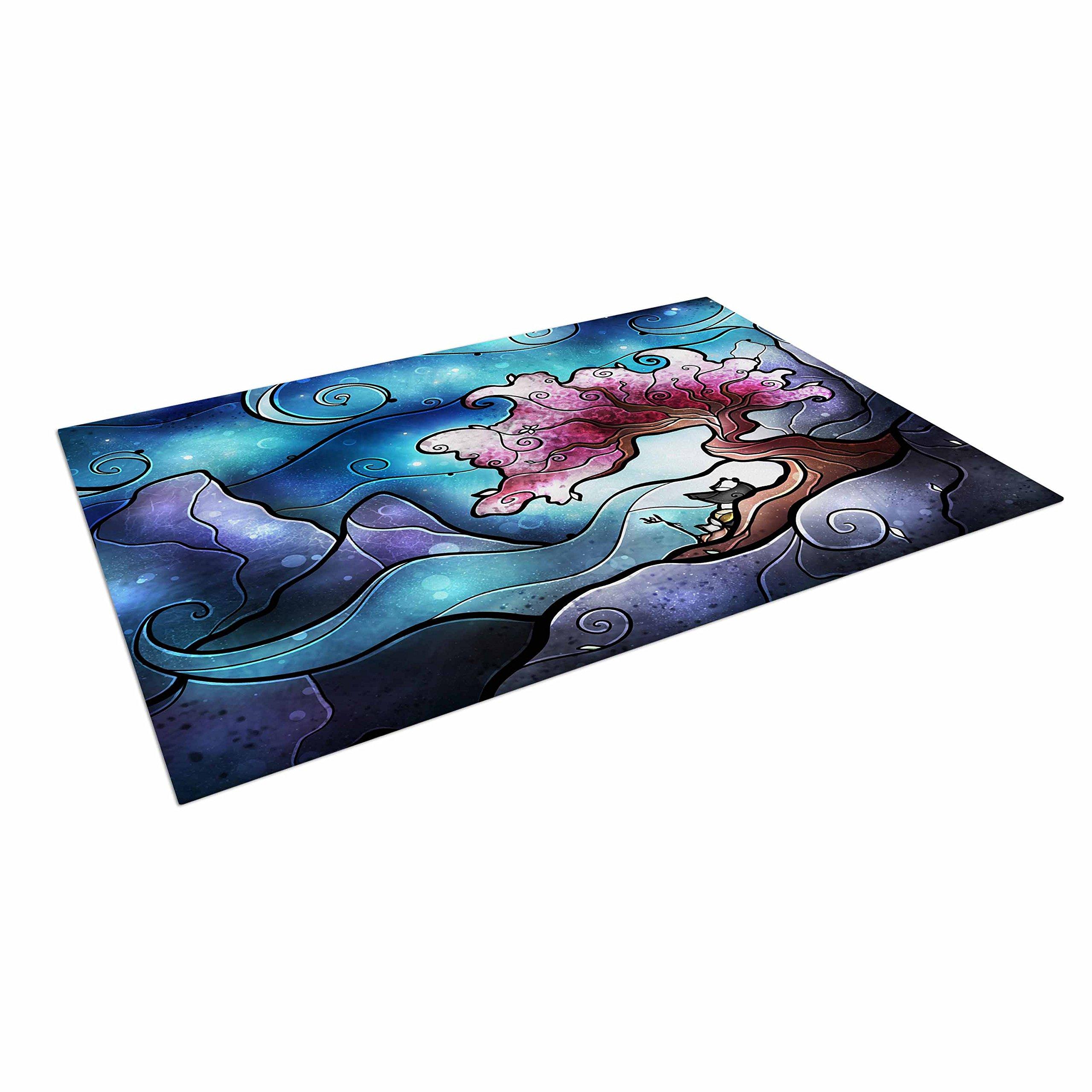 KESS InHouse Mandie Manzano ''Sea Dance'' Blue Orange Outdoor Floor Mat, 4' x 5'