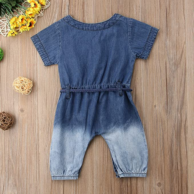 7c4f9622683 Amazon.com  sweetyhouse Infant Toddler Baby Girl Short Sleeve Blue Denim  Romper Jumpsuit with Belt Overalls  Clothing