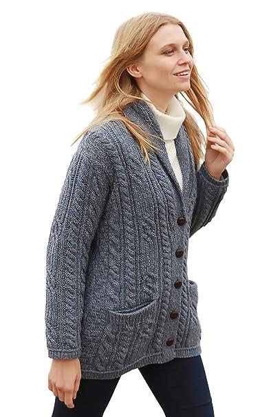 55a0df660034 Aran Woollen Mills Multi Wool Cable Knit Irish Shawl Cardigan Grey ...