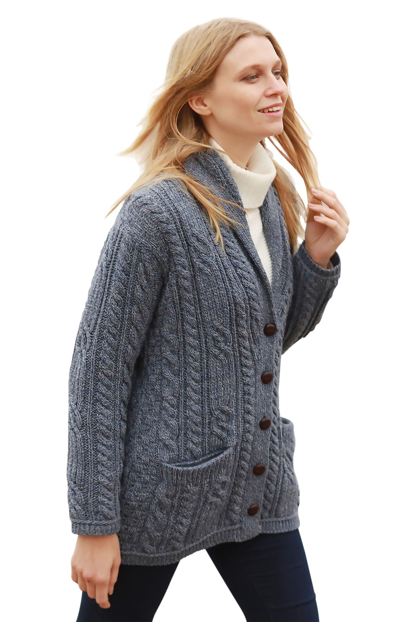 Aran Woollen Mills Multi Wool Cable Knit Irish Shawl Cardigan (Small)