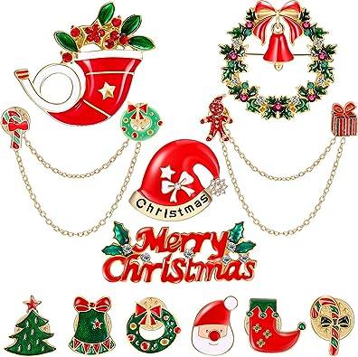 Christmas Flowers Garland Brooch Pins Rhinestone Jewelry Ornament Xmas Gifts