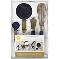 Wilton Navy Blue and Gold Measuring Cups, Measuring Spoons and Whisks Set, 10-Piece