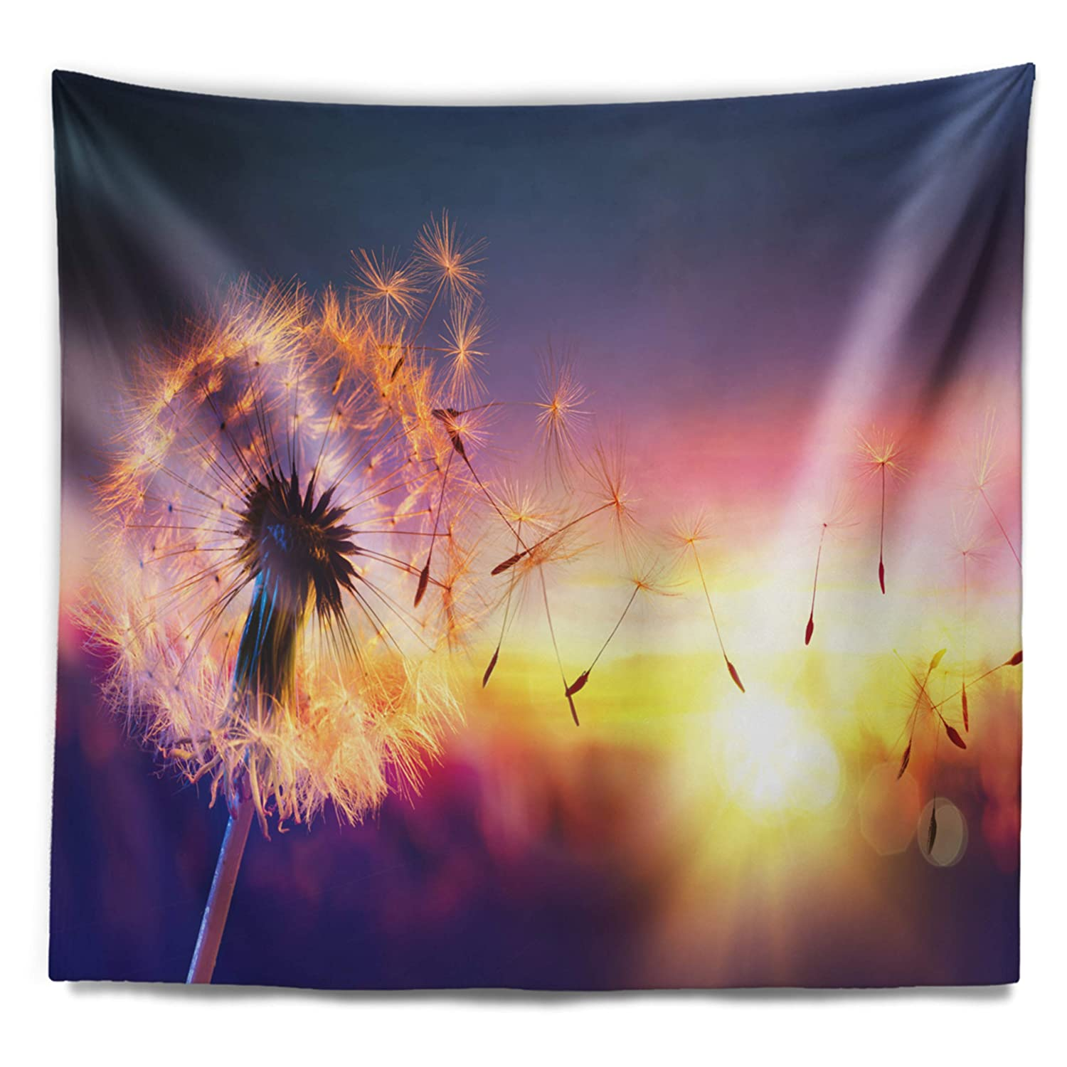 Designart TAP16445-60-50  Dandelion at Sunset Freedom to Wish Abstract Blanket D/écor Art for Home and Office Wall Tapestry Large x 50 in Created On Lightweight Polyester Fabric 60 in