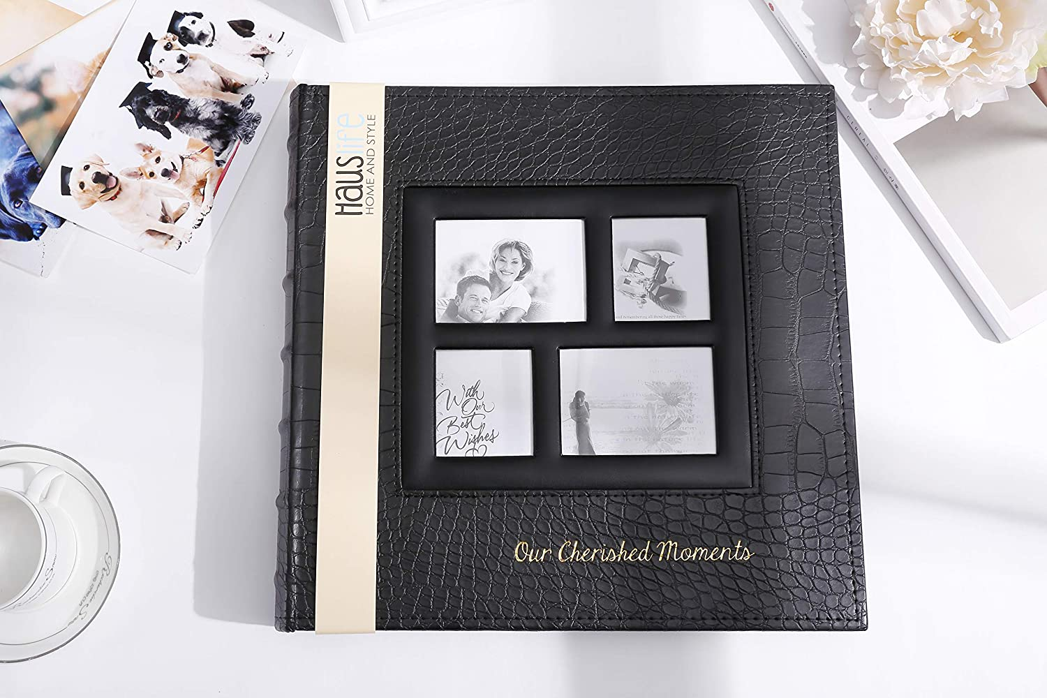 5x7 Photo Album Self Adhesive Magnetic Family Albums 13.3x13.4 Inches Self Stick Sticky Picture Albums with Magnetic Pages for Wedding//Birthday 3x5 8x10 Photos 4x6 30 Sheets 30sheets, black1 6x8