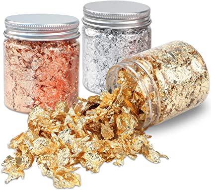 Amazon Com Gold Foil Flakes For Resin 3 Bottles Nail Foil Flakes Gold Leaf Resin Flakes Metallic Gilding Flakes For Painting Crafts Nails Slime And Resin Jewelry Making Gold Silver Copper Colors Arts
