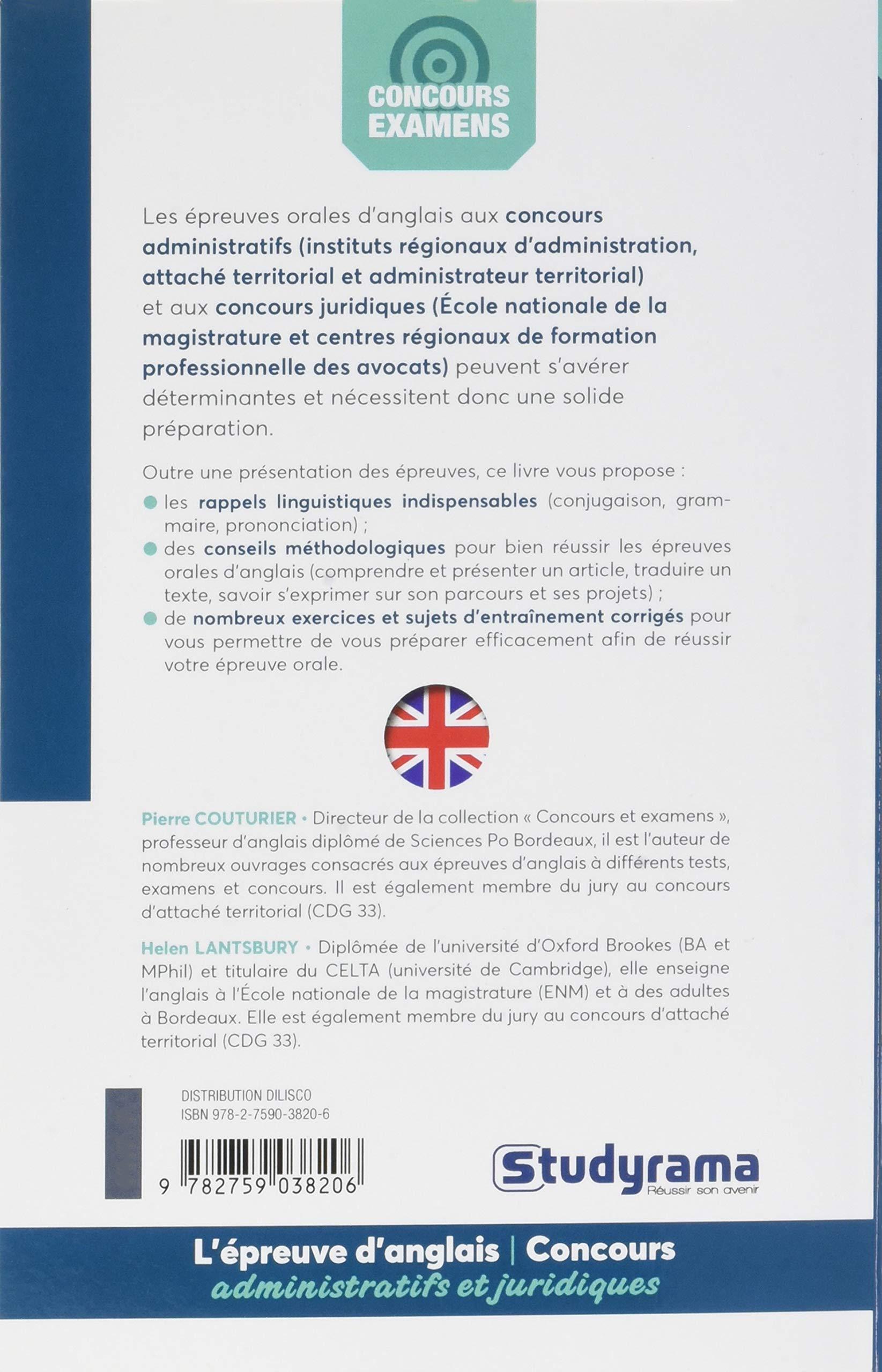 Lépreuve orale danglais aux concours administratifs et juridiques : Attaché et administrateur territorial, IRA, ENM et CRFPA Concours et examens: ...
