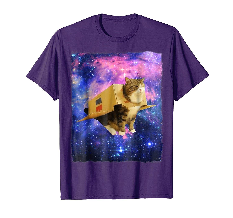Astronaut Cat Shirt Awesome Box Spaceship Epic Cat Meme Tee-Teehay
