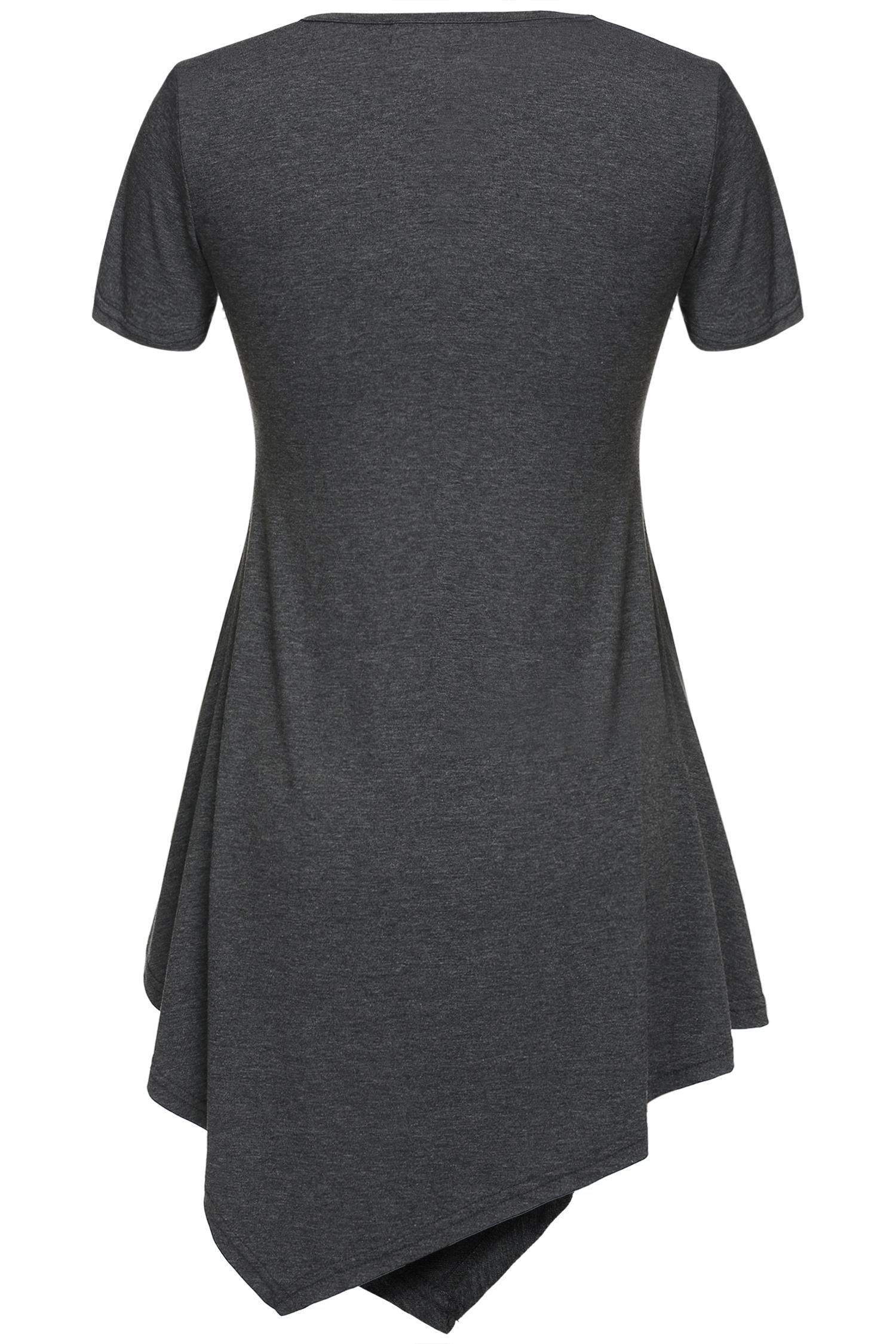 ELESOL Women\'s V Neck Short Sleeve Handkerchief Hem Lightweight Flare Tunic Top Dark Gray M