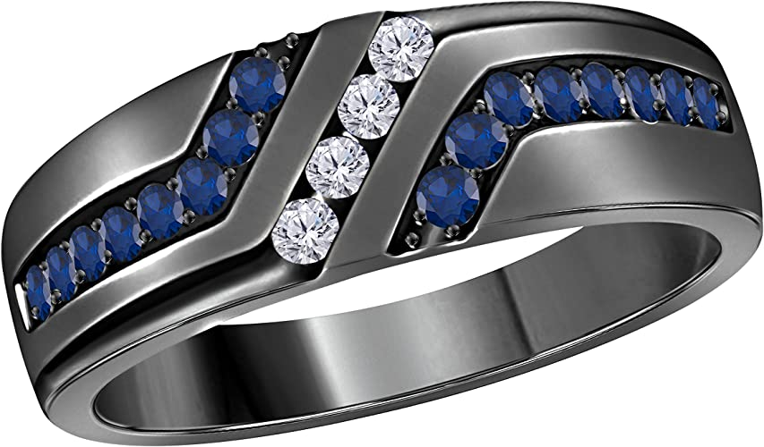 Jewelry Star Mens Wedding Band Engagement Ring 14k Gold Plated 925 Sterling Silver Cz Blue Sapphire Cubic Zirconia Round Amazon Com