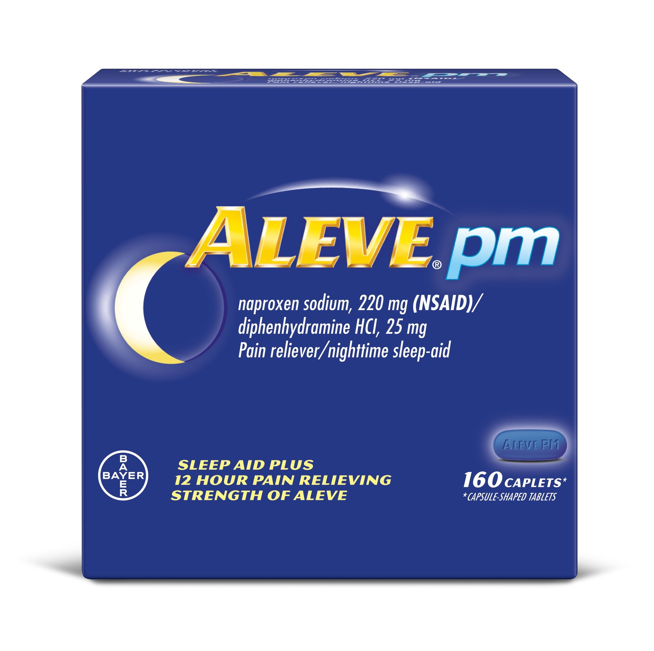 Aleve PM Pain Reliever/Fever Reducer/Sleep Aid Caplets, 160 Count