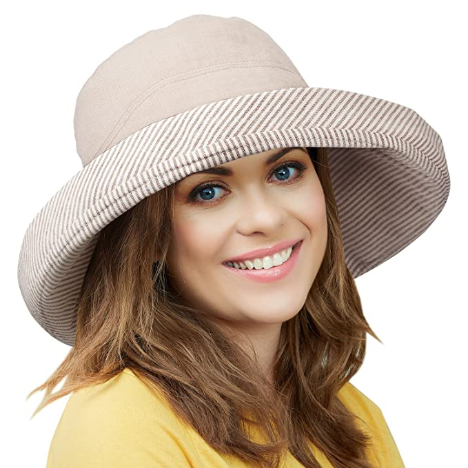 2536a92b4a1 Tirrinia Womens Wide Brim Bucket Hats Breathable Outdoor Beach Gardening Hat  Cream