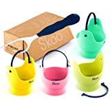 Silicone Egg Poacher Cups + Free Fork - Egg Cooker Set - Perfect Poached Egg Maker - For Stove Top, Microwave and Instant Pot - Spring Edition.