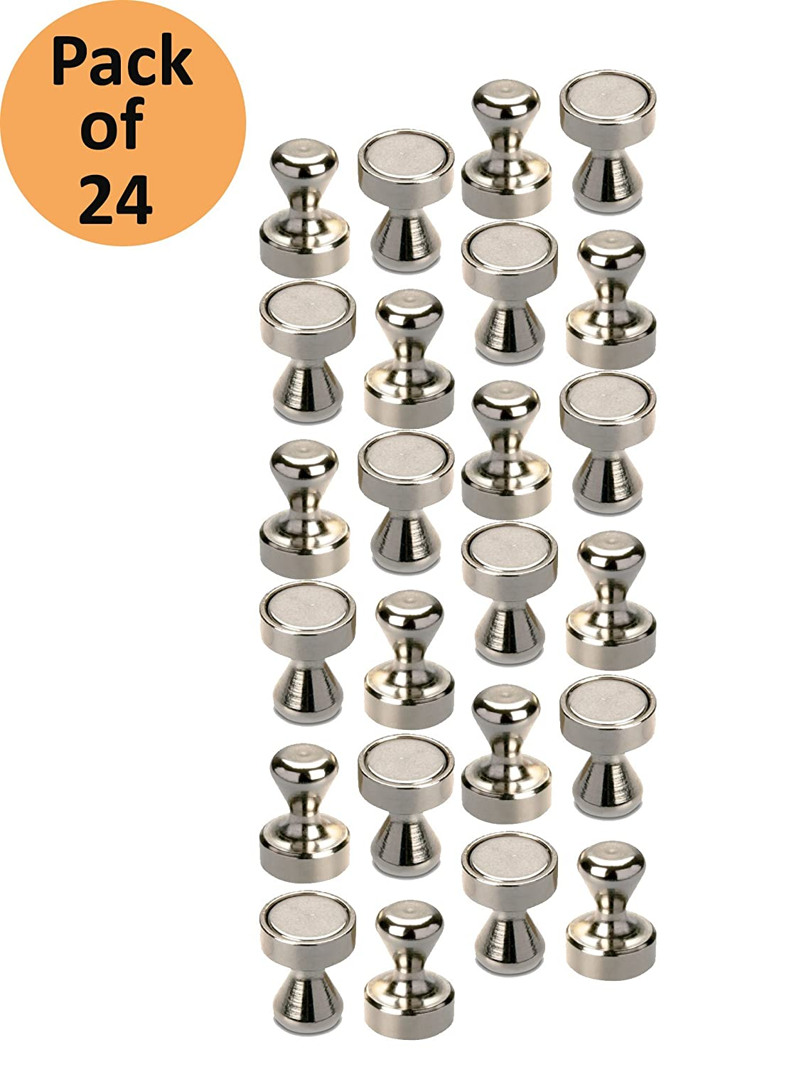 24 Brushed Neodymium Nickel Coated Magnetic Push Pins Hooks for Fridge, Bathroom, Kitchen, Locker,Classroom, Industrial use,Office, Dry Erase Whiteboard Magnets [ 24 Pack ] Sellers360
