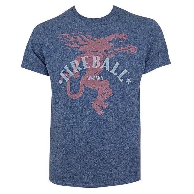 Amazon Fireball Whiskey Large Dragon Logo Heather Tee Shirt
