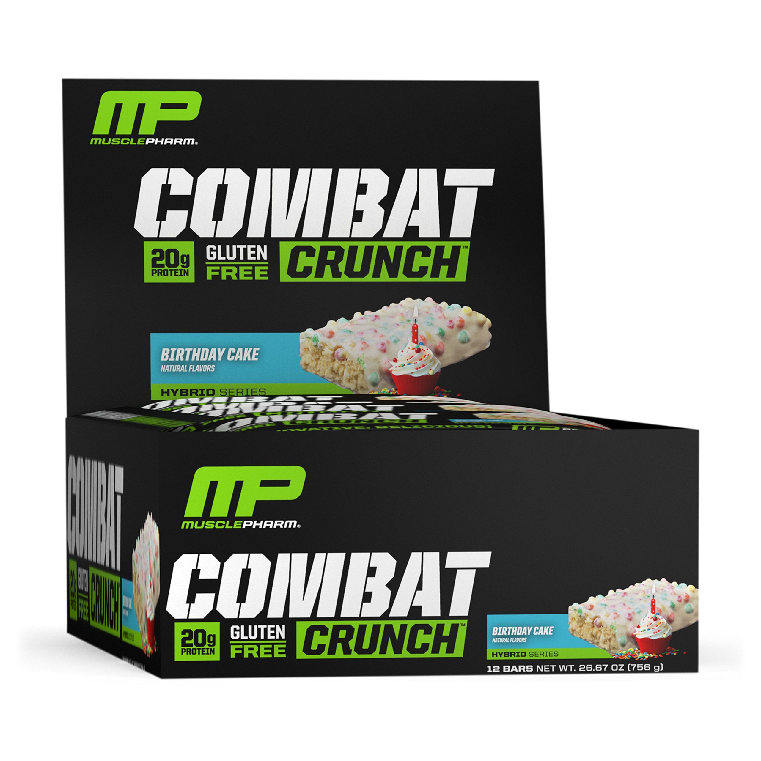 MusclePharm Combat Crunch Protein Bar, Multi-Layered Baked Bar, 20g Protein, Low Sugar, Low Carb, Gluten Free, Birthday Cake, 12 Bars