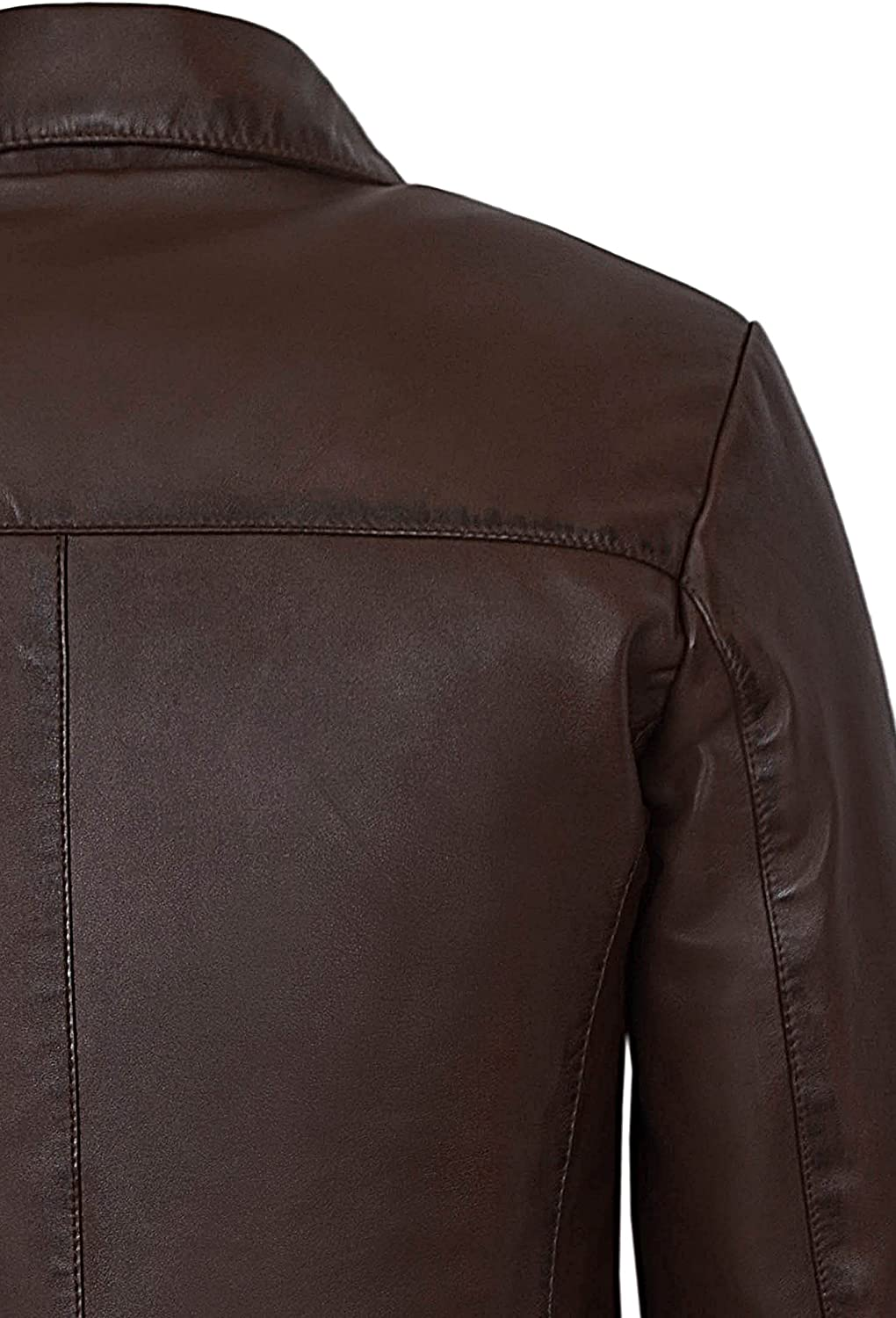 New Men 4 Buttons Classic Blazer Brown Knee Length Lambskin Leather Jacket 3476