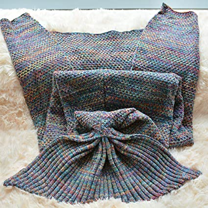 Fadfay Mermaid Blanket Knitting Pattern Blanket Mermaid Tail Blanket