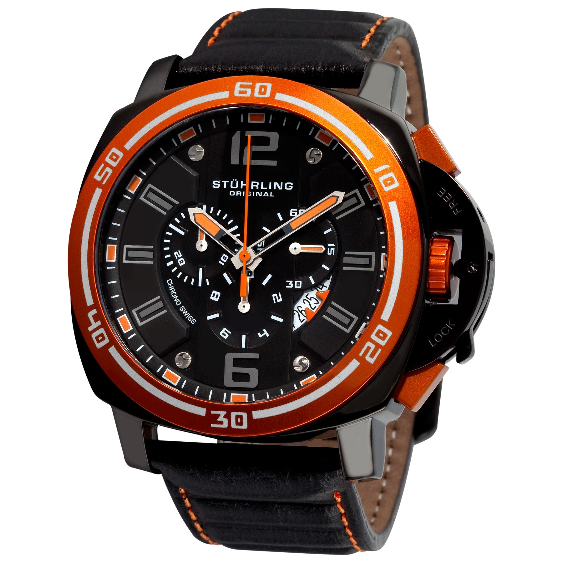 Stuhrling Original Men's 245A.332R557 Excursion Blazer Swiss Quartz Chronograph Orange Bezel Watch
