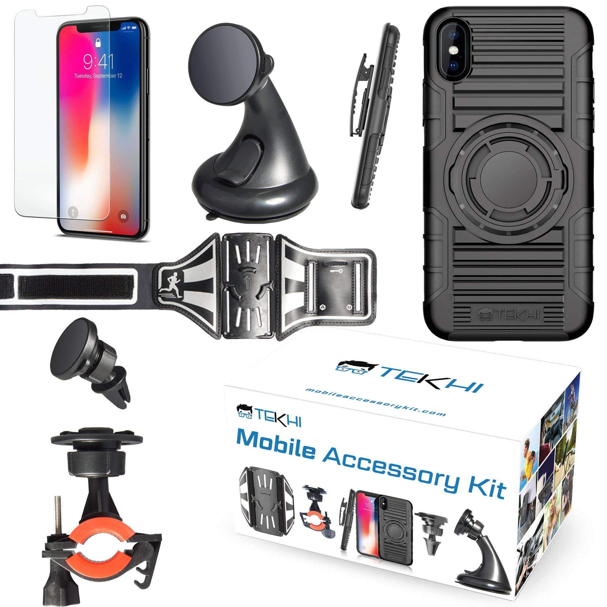 IPhone X Bundle Accessory Combo Set Kit - Includes: Silicone Protective Case + Bike Mount + Running Armband + Car Magnetic Air Vent Mount + Car Windshield Holder+ Screen Protector + Clip Holster by Tekhi
