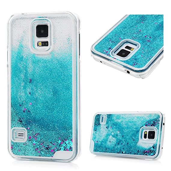 outlet store 59a4a c1caf YOKIRIN Galaxy S5 Case, Luxury Shiny Powder Sparkle Flowing Liquid Case  Stars Moving Quicksand Hard PC Plastic Skin Clear Shockproof Protective  Cover ...