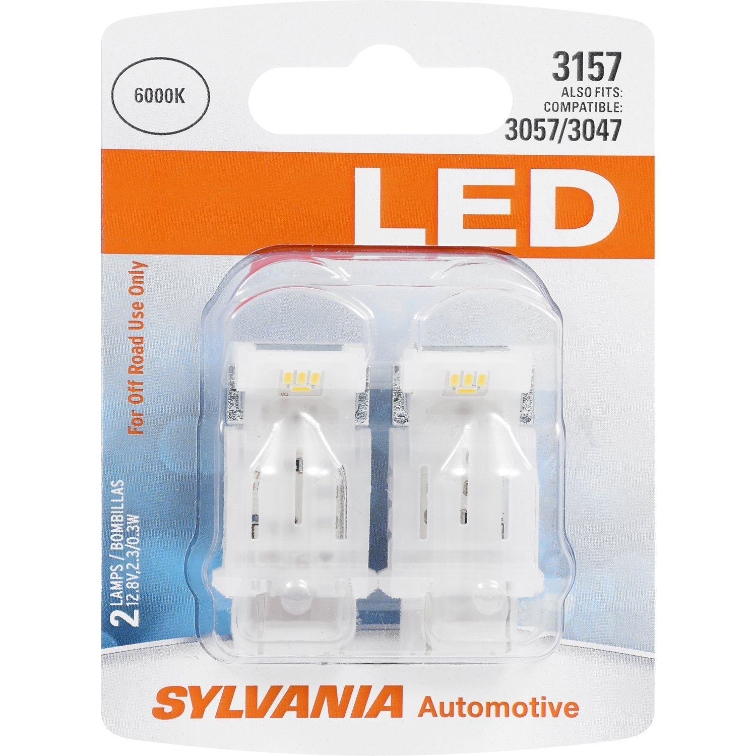 SYLVANIA - 3157 LED White Mini Bulb - Bright LED Bulb, Ideal for Daytime Running Lights (DRL) and Back-Up/Reverse Lights (Contains 2 Bulbs)
