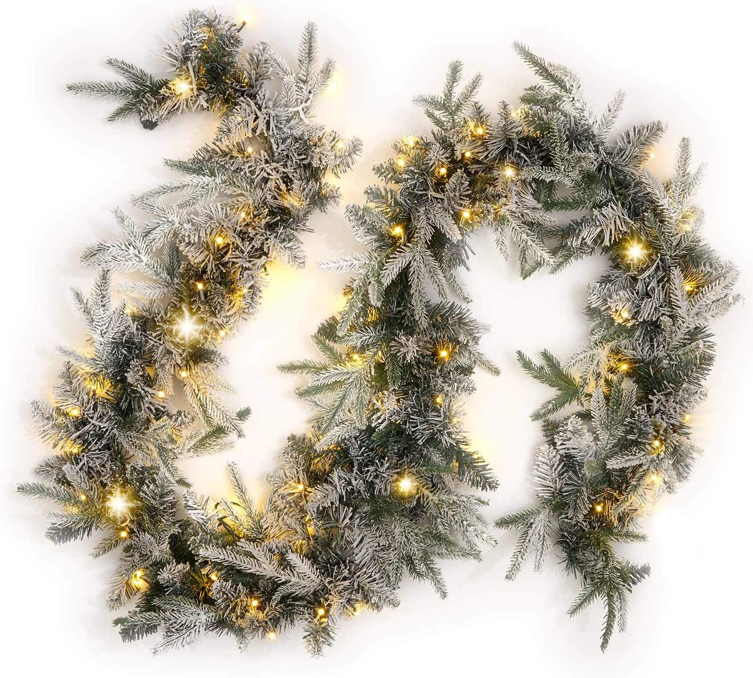 Flocked Christmas Garland with Lights - 9 Ft, Artificial White Pine Garland with 100 Warm White LED Lights, Plug in, Christmas Decorations and Holiday Mantle Decor- Connect Up to 3 Garlands