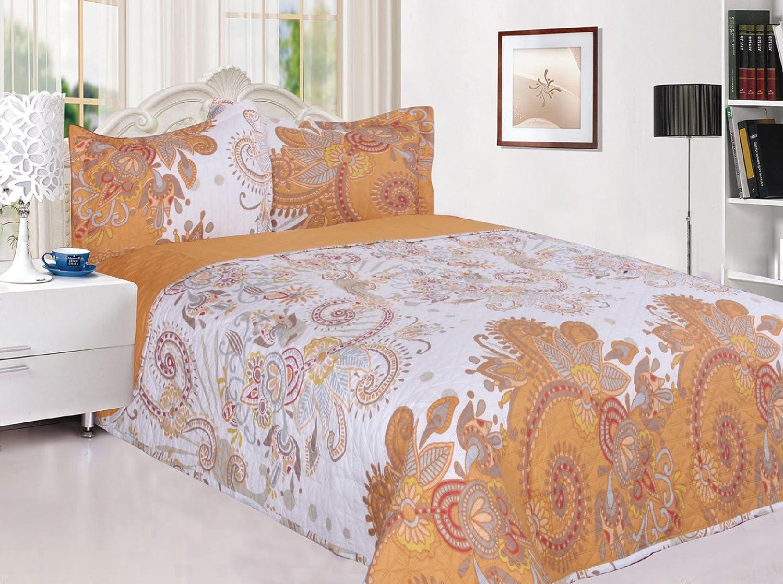 3 Pieceリバーシブルキルト風ベッドスプレッドCoverletサイズツインカラーゴールドフラワー B078JRD8NK