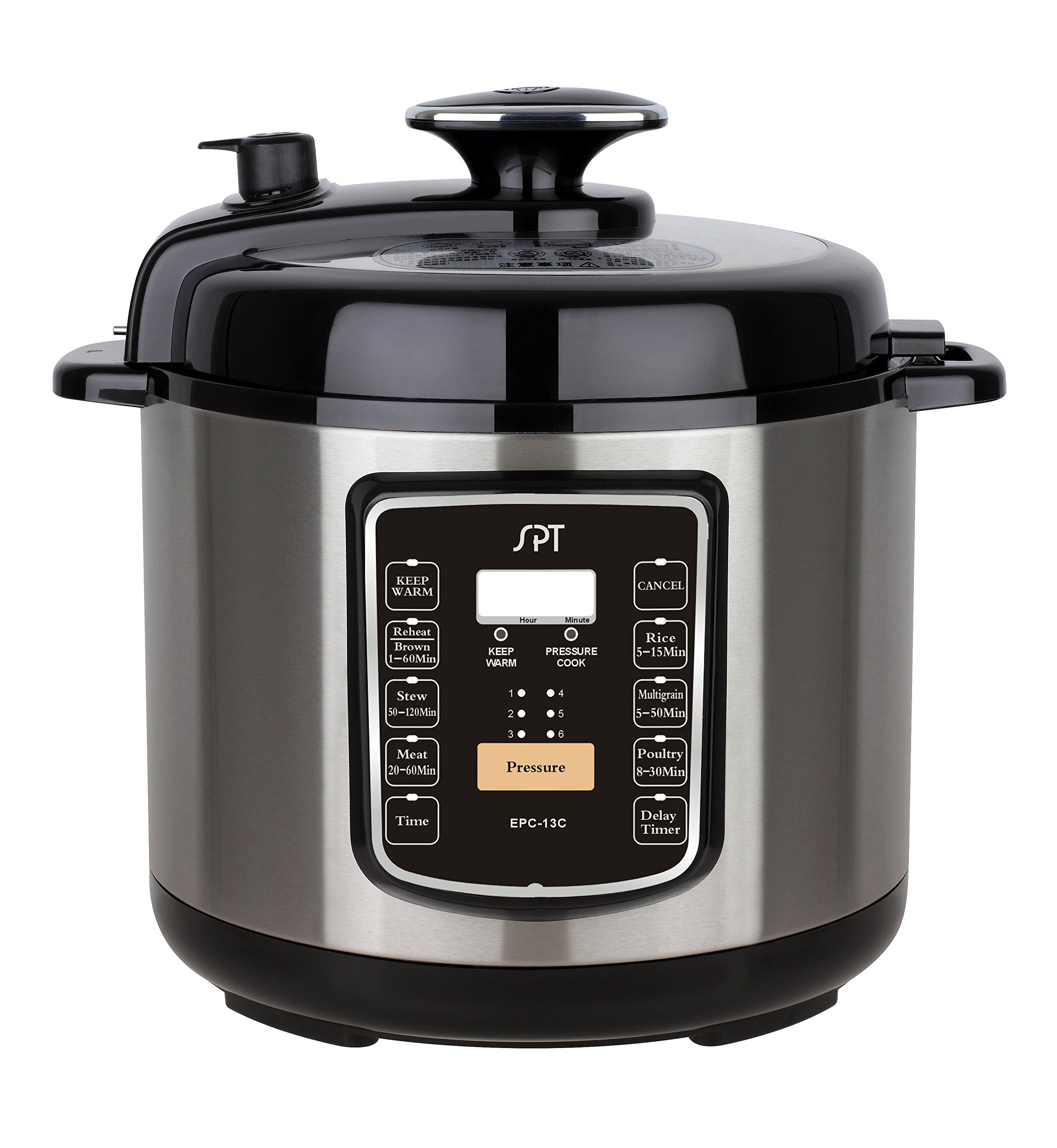 SPT EPC-13C Electric Pressure Cooker with Quick Release Button, 6.5 quart, Stainless Steel