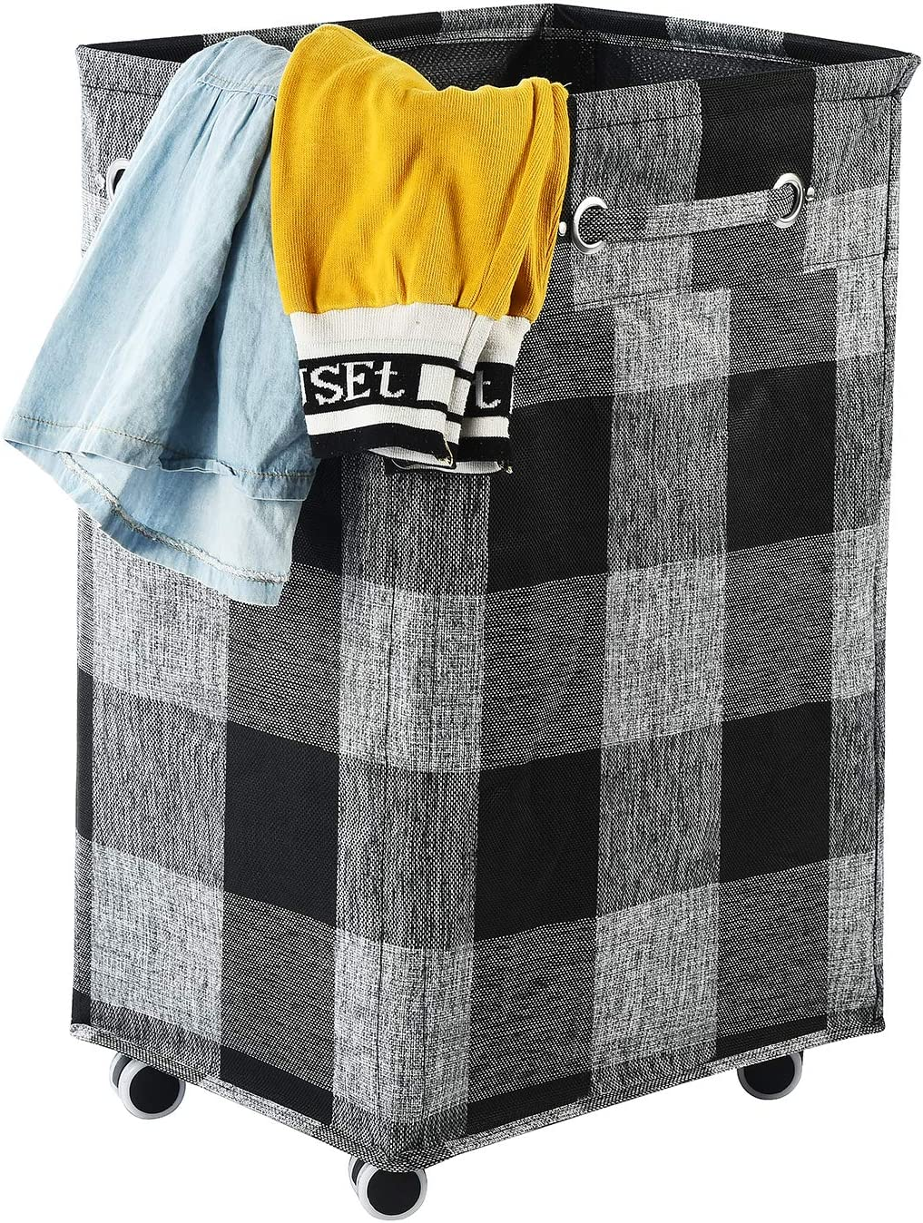 Haundry 85.8L Large Collapsible Laundry Hamper with Wheels, Waterproof Rolling Clothes Hamper Basket Bin for Dirty Clothes Storage(Black)