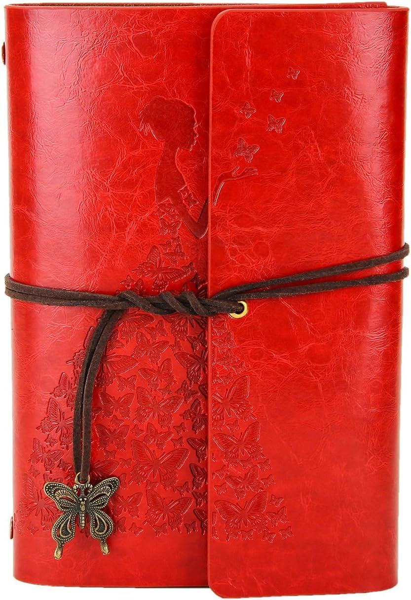 XIUJUAN Libreta Bonitas Hojas Blancas Cuaderno de Viaje Bloc Notas Cuero Vintage entre A6-A5, Regalo Originales Navidad San Valentín Cumpleaños Aniversario Boda para Mujer, Bariposa Niña Rojo Pequeño