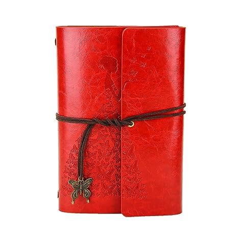 XIUJUAN Libreta Bonitas Hojas Blancas Cuaderno de Viaje Bloc Notas Cuero Vintage entre A6-A5, Regalo Originales Navidad San Valentín Cumpleaños ...