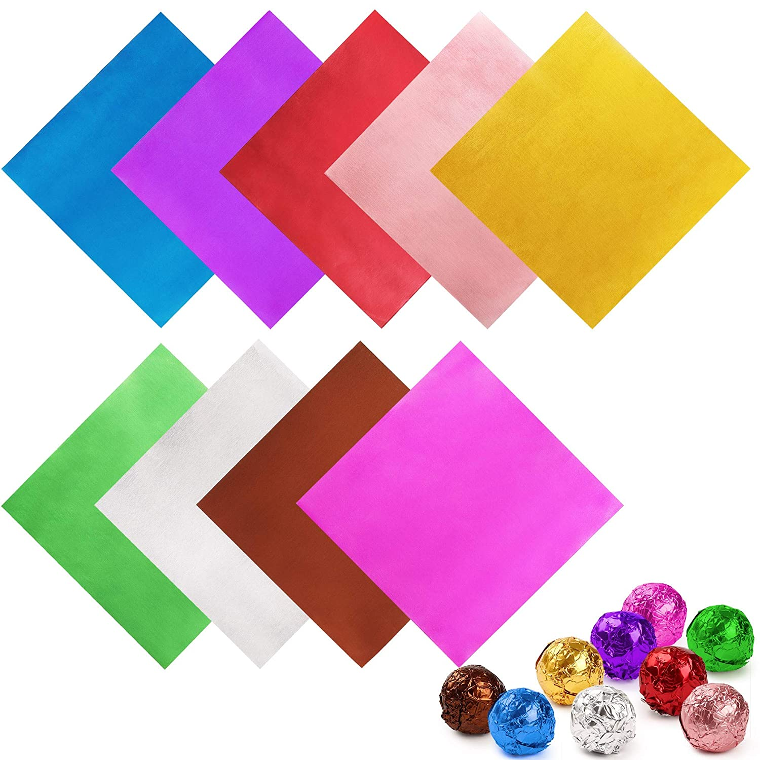 LotFancy 900 pieces Candy Wrappers for Chocolates, 4x4 inch Aluminum Foil Wrapper, Square Candy Wrapping Paper, Colored Foil Sheets for DIY Homemade Candies Party Favors Decorations, 9 Colors