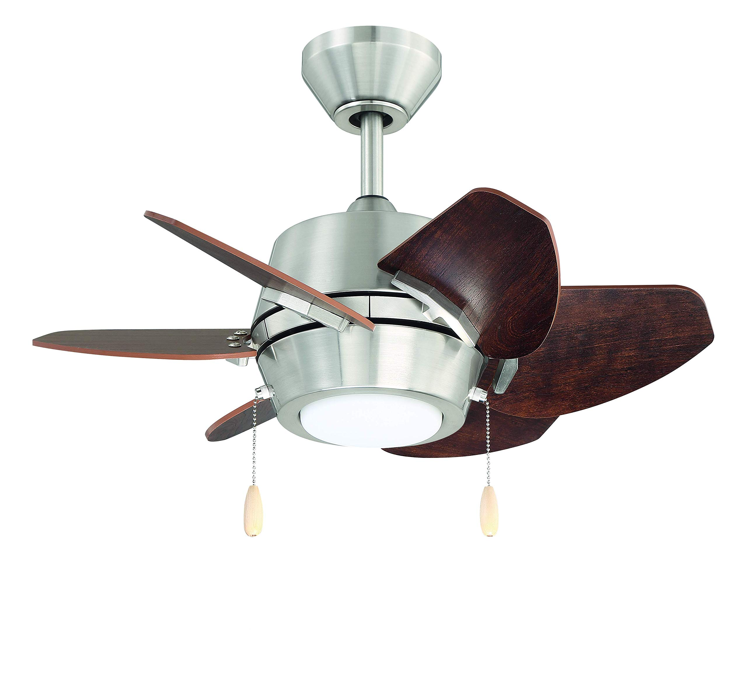 "Litex Industries GA24BNK6L Litex Gaskin Sleek 24""Ceiling Fan Brushed Nickel Finish with 6 Glazed Cherry/Driftwood Reversible Blades, UL Rated"