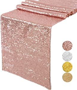 Starmoon Sparkly Rose Gold Sequin Table Runners 12x72inch Shimmer Table Linen for Wedding Party Anniversary Birthday Cake Table Cloth Linen Decor
