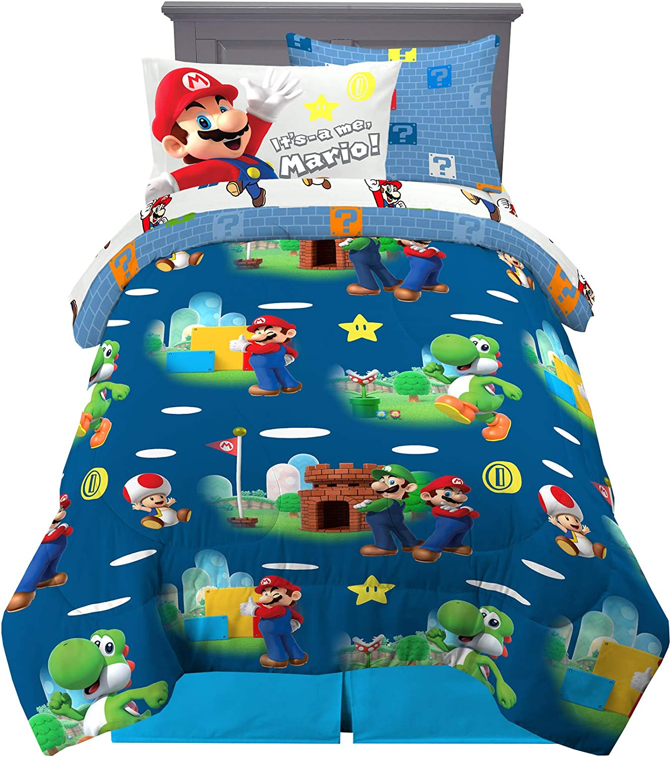 Franco Kids Bedding Super Soft Comforter and Sheet Set with Sham, 5 Piece Twin Size, Mario