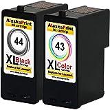 Premium Lot de 2 cartouches compatibles Pour remplacer Lexmark 44xl 43xl Pour Lexmark X7675 X9575 X6575 X7550 X9300 X9350 Z1520 X4850 X4875 X4950 X4975 X4975ve X6570 P350 X9570 (noir , coloré) 44+43- Lex