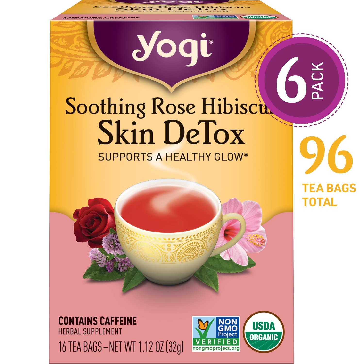 Yogi Tea - Soothing Rose Hibiscus Skin DeTox - Supports a Healthy Glow - 6 Pack, 96 Tea Bags Total by Yogi